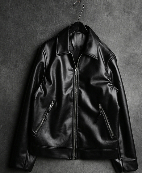 JK-6996ZIP_UP SINGLE RIDER JACKET집업 싱글 라이더 자켓Color : 1 colorMaterial : leather