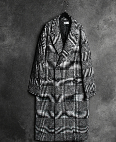 JK-7598CHECK PATTERN DOUBLE LONG COAT체크 패턴 더블 롱 코트Color : 1 colorMaterial : wool