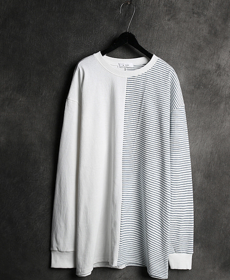 T-11263STRIPED UNBALANCE TEE스트라이프 언밸런스 티셔츠Color : 2 colorMaterial : cotton