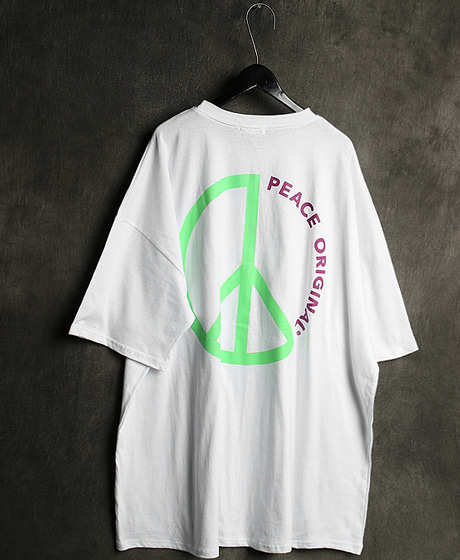 T-13117PEACE PRINTING OVERSIZED T-SHIRT피스 프린팅 오버사이즈 티셔츠Color : 2 colorMaterial : cotton