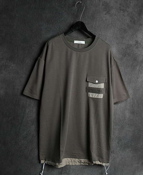 T-13066LAYERED POKET T-SHIRT레이어드 포켓 티셔츠Color : 2 colorMaterial : cotton