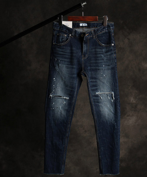 P-9851painting pattern damaged denim pants