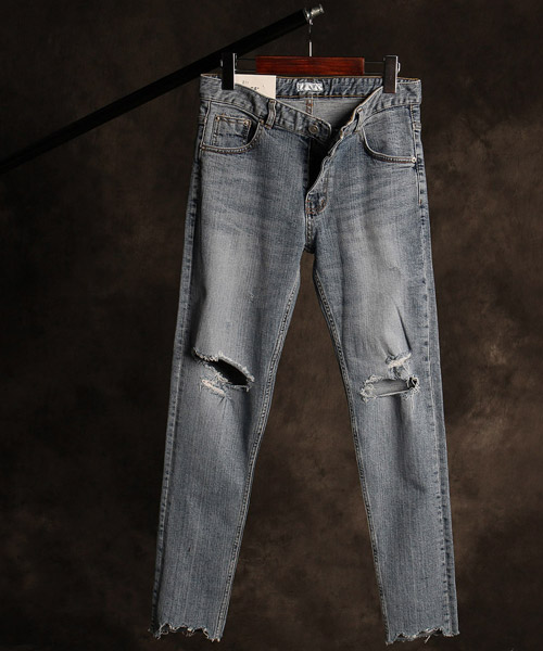P-9852damaged denim pants