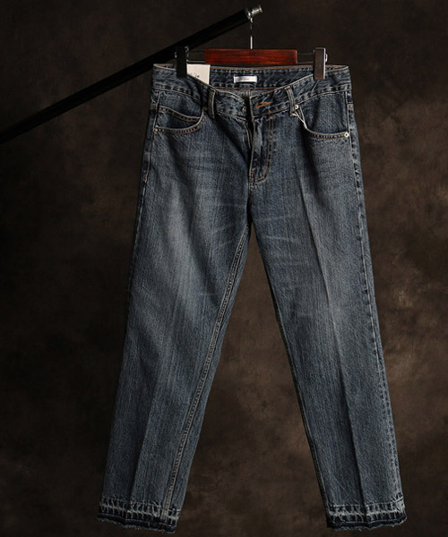 P-9853color scheme vintage denim pants